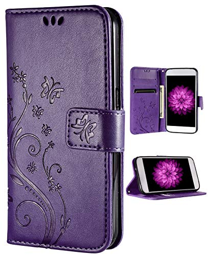 FLYEE Case Compatible with iPhone 6 Plus(2014)/iPhone 6s Plus(2015) 5.5 inch,Wallet Case for Women with Card Holder,Flip Case Wallet Leather [Kickstand] Embossing Butterfly Flower Protective-Purple