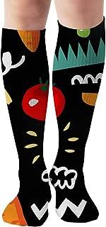 Vegetarian Carrot Tomato Radish Vegetable Sports Recreation Compression Socks Unisex Printed Socks Fun Long Cotton Socks Over The Calf Tube 19.7 Inch