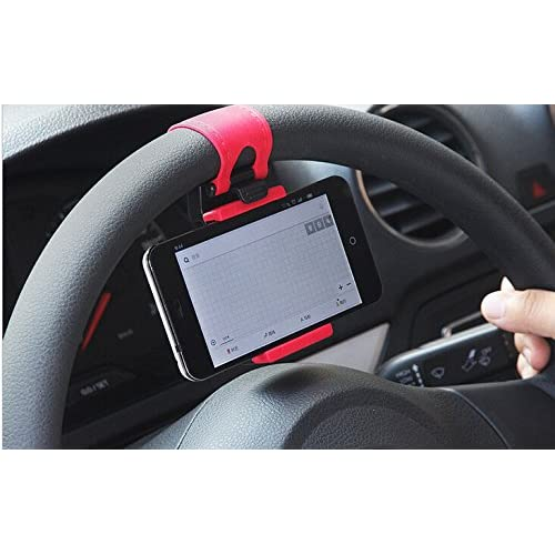 JessicaAlba Universal Cell Phone Car Mount Holder on Steering Wheel Better View & Buckle Clip Hands