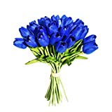 Mandy's Blue Artificial Latex Tulips for Home Party Wedding Decoration