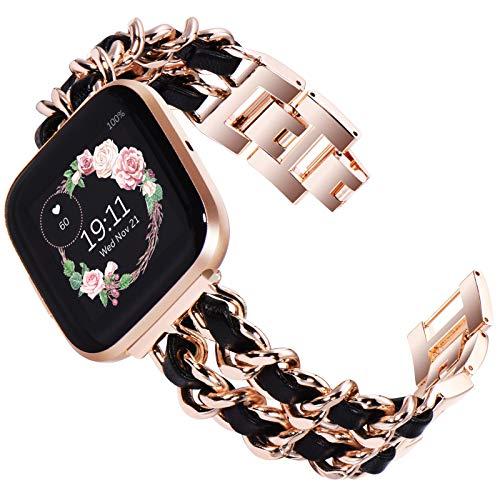 Kadis, cinturino di ricambio compatibile con Fitbit versa 2, in acciaio inox, compatibile con cinturino Fitbit Versa, Versa Lite Edition (oro rosa con pelle nera)