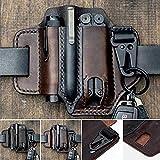 Genuine Leather EDC Belt Loop Waist Multitool Sheath, EDC Pocket Organiser Pouch, Handmade 3 Pockets Organizer Sheath for Flashlights/Tactical pens/Tools…
