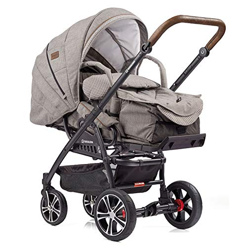 Gesslein Kombi-Kinderwagen F4 Air+ | Gestell: schwarz | Lederschiebegriff: tabak | inkl. C1-Lift Softtragetasche | Design: 963963
