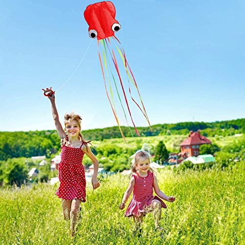 Motiloo 3Pack Large Octopus Kite,3D Beach Kites Easy to Fly Kites Come with Handle