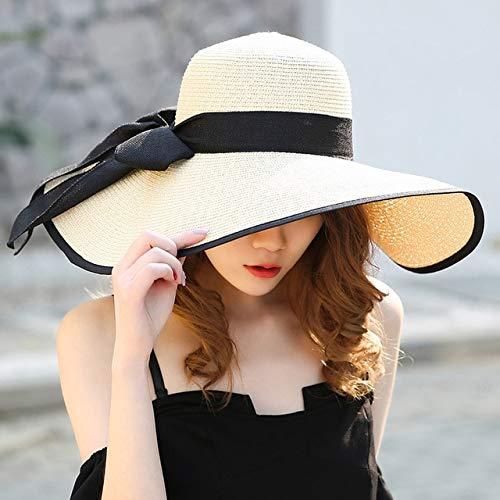 Mdsfe Zomer grote rand strohoed floppy brede rand zonnekap Bowknot Beach opvouwbare hoed nieuwe 2019 hoed voor vrouwen k2866 beige-A2866