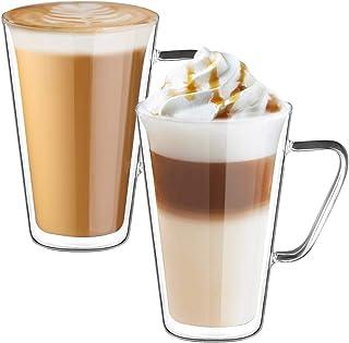 ecooe Zestaw szklanek do latte macchiato z podwójnymi ściankami szklanek do kawy z uchwytem 2-częściowy 450 ml (pełna poje...
