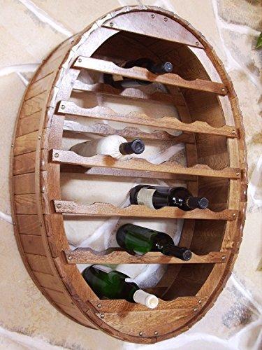 DanDiBo Weinregal Weinfass für 24 Flaschen Braun gebeizt für die Wandmontage Wandregal zum aufhängen Flaschenregal