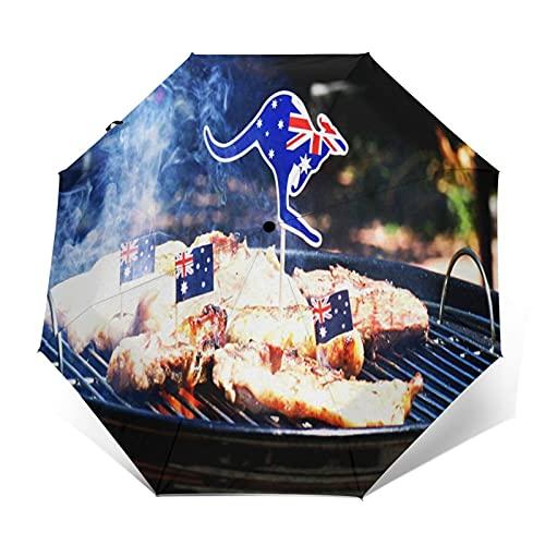 Regenschirm Taschenschirm Kompakter Falt-Regenschirm, Winddichter, Auf-Zu-Automatik, Verstärktes Dach, Ergonomischer Griff, Schirm-Tasche, Australischer Grill Nahaufnahme Mann