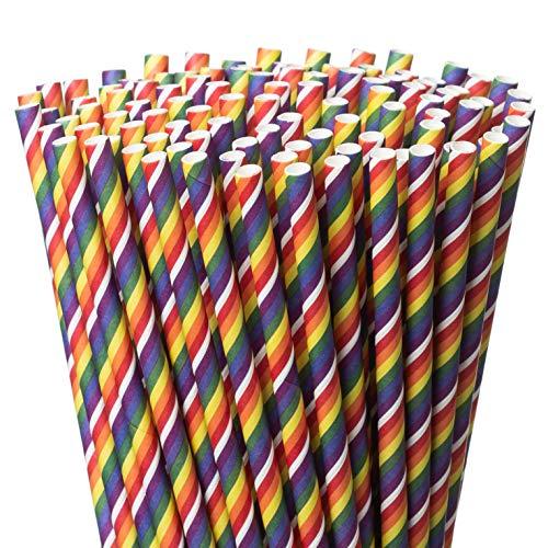 Pajitas de papel originales arcoíris – 12 horas más duraderas biodegradables – Paquete de 200 pajitas de color arco iris – Larga duración y respetuosa con el medio ambiente – Ideal para fiestas, uso diario en el hogar