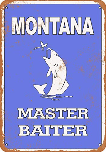 Scott397House Metal Tin Sign, Montana Bass Fishing Master Baiter Vintage Wall Plaque Man Cave Poster Decorative Sign Home Decor for Indoor Outdoor Birthday Gift 8x12 Inch
