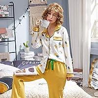 ホームアパレルウィンターローブレディースコットンパジャマセット春秋冬長袖パジャマ女性用パジャマ2枚ホームウェア14M