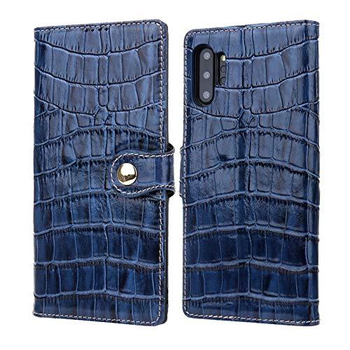 Leren tasje compatibel met Samsung Galaxy Note 10+/Note 10 Plus-koffer, lederen etui met kaart en contant geld zakken, Folio Kickstand case telefoonhoesje, blauw