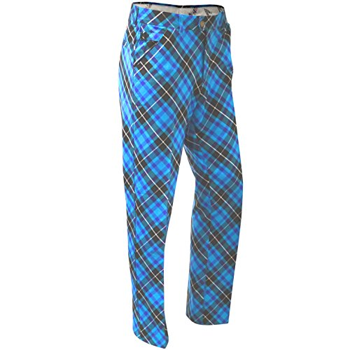 ROYAL & AWESOME HERREN-GOLFHOSE, Mehrfarbig (Blue Plaid Trews), W40/L34