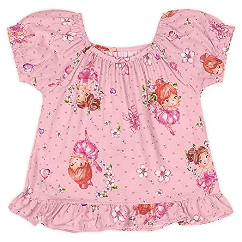 Blusa em viscose estampada Marisol meninas, Rosa Claro, 2P