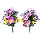 山久 仏様のお供えに カラフルな 菊 の小花束一対 パープル系 1603-3987-pu CT触媒加工 シルクフラワー 造花