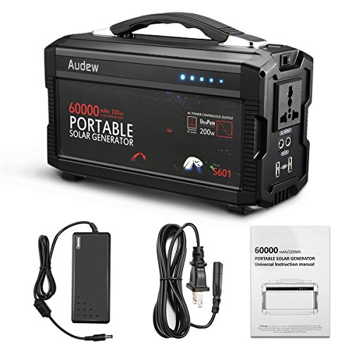 Audew 220Wh/60000mAh Portable Battery Generator Power Station Lithium Battery Power Supply with Silent 110V/60Hz,Max 200W AC Power Inverter,DC 12V/5A &USB Ports,Charged by Wall Outlet/Car/Solar Panel