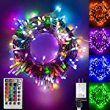 Color Changing led Christmas Lights, 200 LED 66ft Plug in Powered RGB String Lights with Remote Control for Bedroom Wedding Party Christmas Tree Indoor Outdoor Decorations-16 Colors