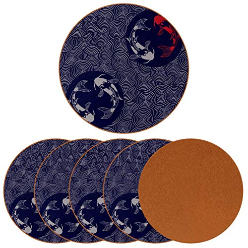 Posavasos para bebidas Koi Carps and Waves Print de cuero redondo taza taza almohadilla alfombrilla para proteger muebles, resistente al calor, decoración de bar de cocina, juego de 6