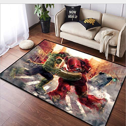 GUORUI Carpet Bedroom Living Room Avengers Hulk And Iron Man Pattern Children'S Cushion Office Carpet Corridor Fluffy Easy To Clean Non-Slip Wear-Resistant Machine Washable
