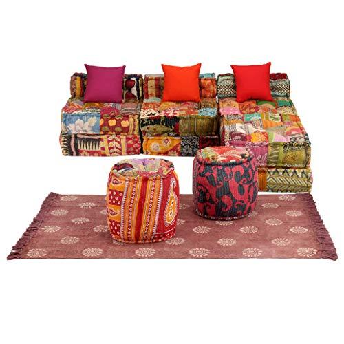 Sofá cama modular de 3 plazas, juego de sofá modular de 14 piezas, de tela con diseño de patchwork, transformarlas en un sofá, una cama, un sofá cama, un sillón individual o un puf, multicolor