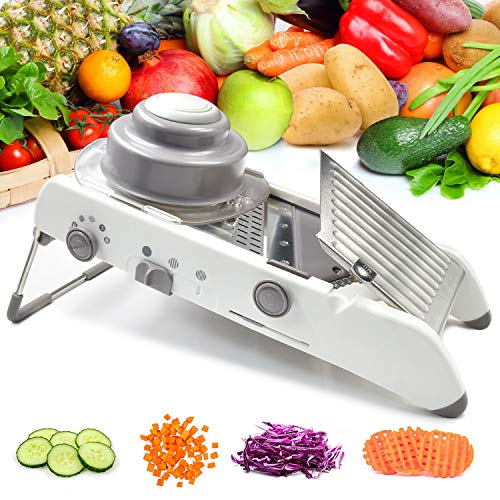Vegetable Mandoline Slicer Waffle Cutter French Fry Shredder Fruit Chopper Potato Julienne Veggie Onion Peeler Tomato Grater Adjustable Thicknesses Safety Hand Guard Stainless Steel Blade white