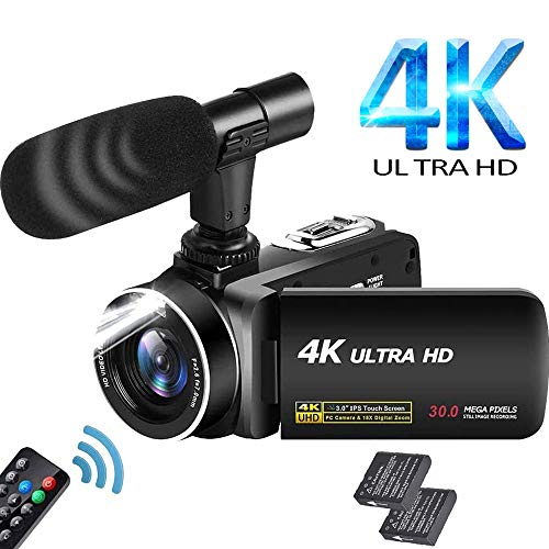 "Videocamera Ultra HD 4K Videocamere 30MP 18X Digital Zoom Videocamera 3.0"" LCD Touch Screen Ruotabile Videocamera per YouTube con microfono, 2 batterie"