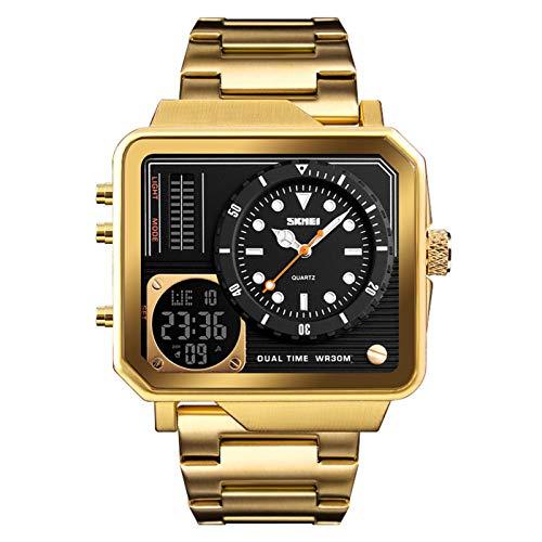 JTTM Reloj Deportivo Digital para Hombre, LED, Cuadrado, Esfera Grande, Analógico, De Cuarzo, con Cronómetro Impermeable Multizona Horaria,Oro