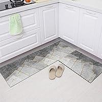キッチン小さなフロアマット抽象的なカーペットベッドルームリビングルームエリアカーペット|ソフトショートベルベット-灰色の灰色_60 * 90 + 60 * 180cm 2パック