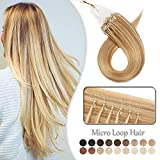 Extension Cheveux Naturel a Froid Rajout Micro Anneaux 100% Cheveux Humain - Micro Ring Loop Remy Hair Extensions 100 Mèches 50g (#12+613 MARRON CLAIR MECHE BLOND CLAIR, 18 Pouces/45cm)