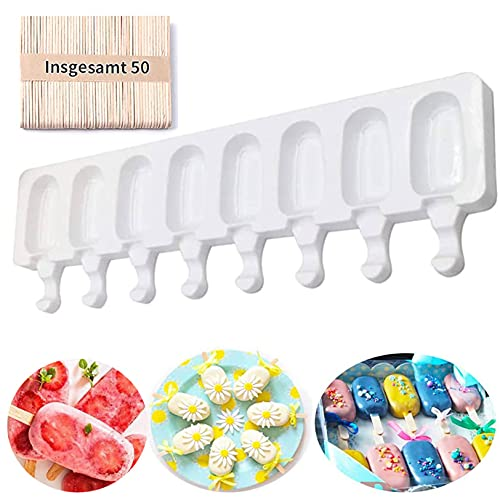 Stampi per ghiaccioli in Silicone, Ice Cream Mould gelatiere per Alimenti Senza BPA, stampi per Gelato al Cioccolato congelato Fai da Te per Bambini Adulti 8 unità cavità (50 Bastoncini di Legno)