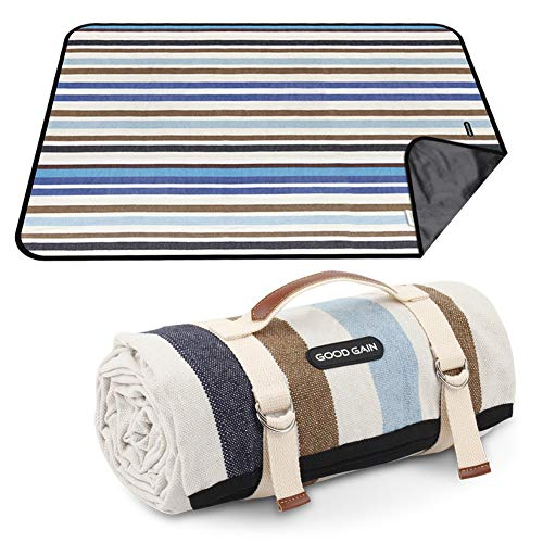 GOOD GAIN Picnic Blanket Waterproof & Sand Proof,Beach Blanket Portable with Carry Strap, XL Large Foldable Picnic Rug Machine Washable for Outdoor Camping Party,Wet Grass,Hiking,Kids Playground.