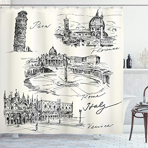 Ambesonne Sketchy Shower Curtain, Travel The World Themed Historical Italian Landmarks Venice Rome Florence Pisa, Cloth Fabric Bathroom Decor Set with Hooks, 84