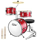 Eastar 14 inch Kids Drum Set 3 Piece with Throne, Cymbal, Pedal & Drumsticks,Metallic Red...