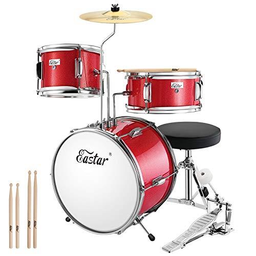 Eastar Schlagzeug Kinder 3-teilig für 3-10 Jahre, schlagzeug set mit Snare, Tom, Bass Drum, Bass Drum Pedal, Thron, Becken und Drumsticks, ideales Geschenk für Kinder Teenager Anfänger, Metallisch Rot