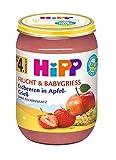 HiPP Frucht & Babygrieß Erdbeeren in Apfel-Grieß, 6er Pack (6 x 190 g)