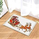 dsgrdhrty Selle de Cheval Rouge Brun Santa Robe Rouge Chapeau Fond Blanc Tapis de Bain Portable Dessin animé HD