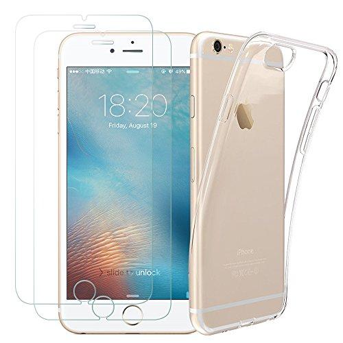 Kany 2 X iPhone 6s 6 Schutzfolie Panzerglas, 1 Hülle Case, Ultra-klar Schutzfolie Displayschutz, Transparente Flexible TPU Silikon Hülle