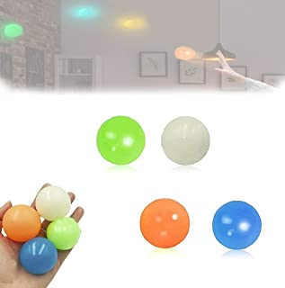 Hengyuan 4PCS Luminous Ceiling Sticky Ball, Squishy Stress Relief Sensory Toy Gifts for Adults and Kids