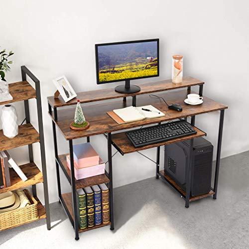 Modern Simple Computer Desk with Storage Shelves, Sturdy Office Desk w/CPU Stand, Industrial Desk Study Writing Table for Home Office, Desktop Home Creative Desk Writing Desk, Brown