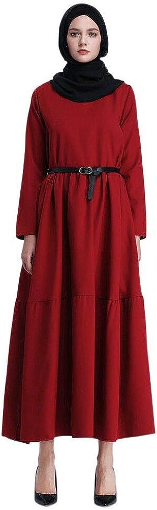 Janjunsi Muslim Saudi Arab Round Neck Long Sleeve Side Zipper Dress Cloth Robes