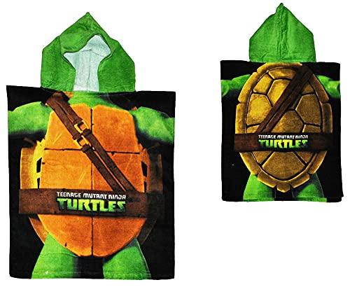 alles-meine.de GmbH Badeponcho Hero Turtles - 50 cm * 115 cm - 4 bis 8 Jahre Poncho - mit Kapuze - Handtuch Strandtuch Baumwolle - Schildkröten - Jungen / Mädchen für Kinder Bade..