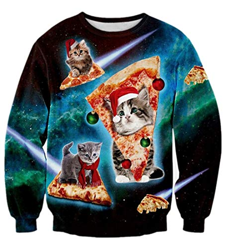 Xmas Sweater Linda Cat y Pizza Impreso Navidad Sudaderas Fantasía Vacaciones Manga Larga Tops Camiseta Jerséis XXL