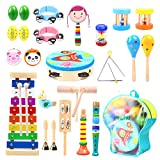 Toddler Music Instruments Set 30 Pcs, Ohuhu Wooden Percussion Instruments Toys Tambourine Xylophone for Kids Preschool Education, Early Learning Musical Toys for Boys and Girls with Storage Bag