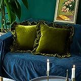 Glory Season Funda de almohada de terciopelo, suave, decorativa, lujosa, cuadrada, para sofá, dormitorio, casa de campo, paquete de 2, 45,7 x 45,7 cm, verde oliva