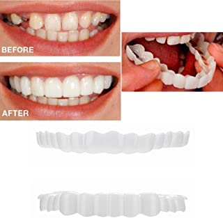 XILALU 1 Pair Simulation Teeth, Upper&Lower Temporary Smile Comfort Fit Cosmetic Teeth Comfortable Cosmetic Sticker Veneer Denture Care (1 Pair, White)