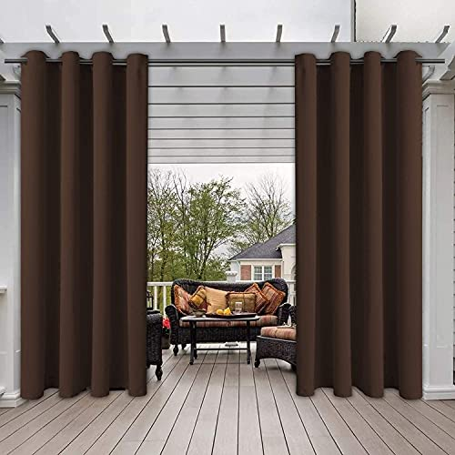 LXWCY Tende Impermeabili per Interni/Esterni per Patio, Antivento, Doppio Occhiello Termoisolante Oscurante, 1 Pannello, Tende per. (Marrone,1x 132x305 cm)
