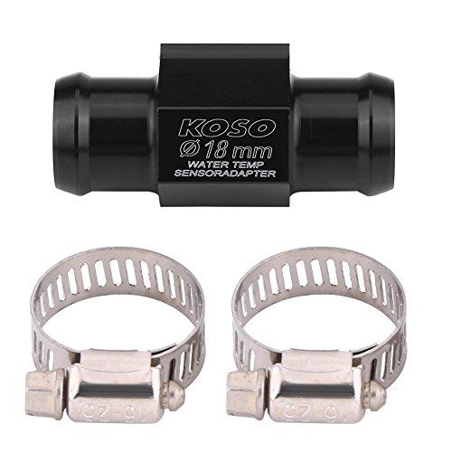 Motorrad Temperatursensor Adapter, Wassertemperatur Temperatur Joint Rohr Sensor Gauge Kühlerschlauch Adapter (SCHWARZ)(18mm)