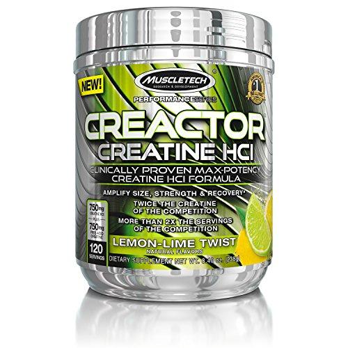 MuscleTech Creactor Max Potency Creatine Powder Micronized Creatine and Creatine HCl Lemon Lime Twist 120 Servings 238g