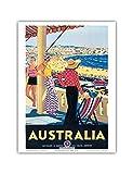 Australia - Bondi Beach, New South Wales - Vintage World Travel Poster by Percy Trompf c.1929 - Bon Art Print