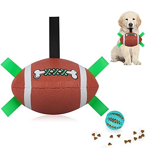 Interaktives Hundespielzeug Ball, FußBallball mit Greiflaschen,Naturgummi Hunde Spielzeug Intelligenzspielzeug für Drinnen und DraußEn, Hundespielzeug für Kleine und MittelgroßE Hunde, Hundefutterball